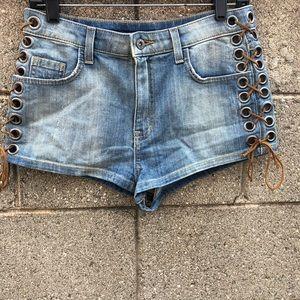 Carmar Corset LaceUp Side Coutout Jean Shorts   28
